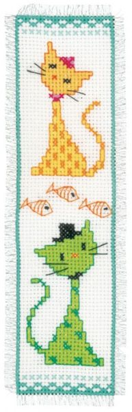 Yellow And Green Cat Bookmark Cross Stitch Kit